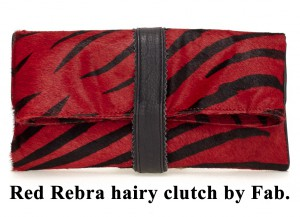 Bag at You Red Zebra hairy Fab clutch