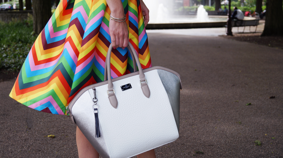 Bag at You - Fashion Blog - Paul's Boutique bags - Tassen - Colorful skirt and white bag - Featured