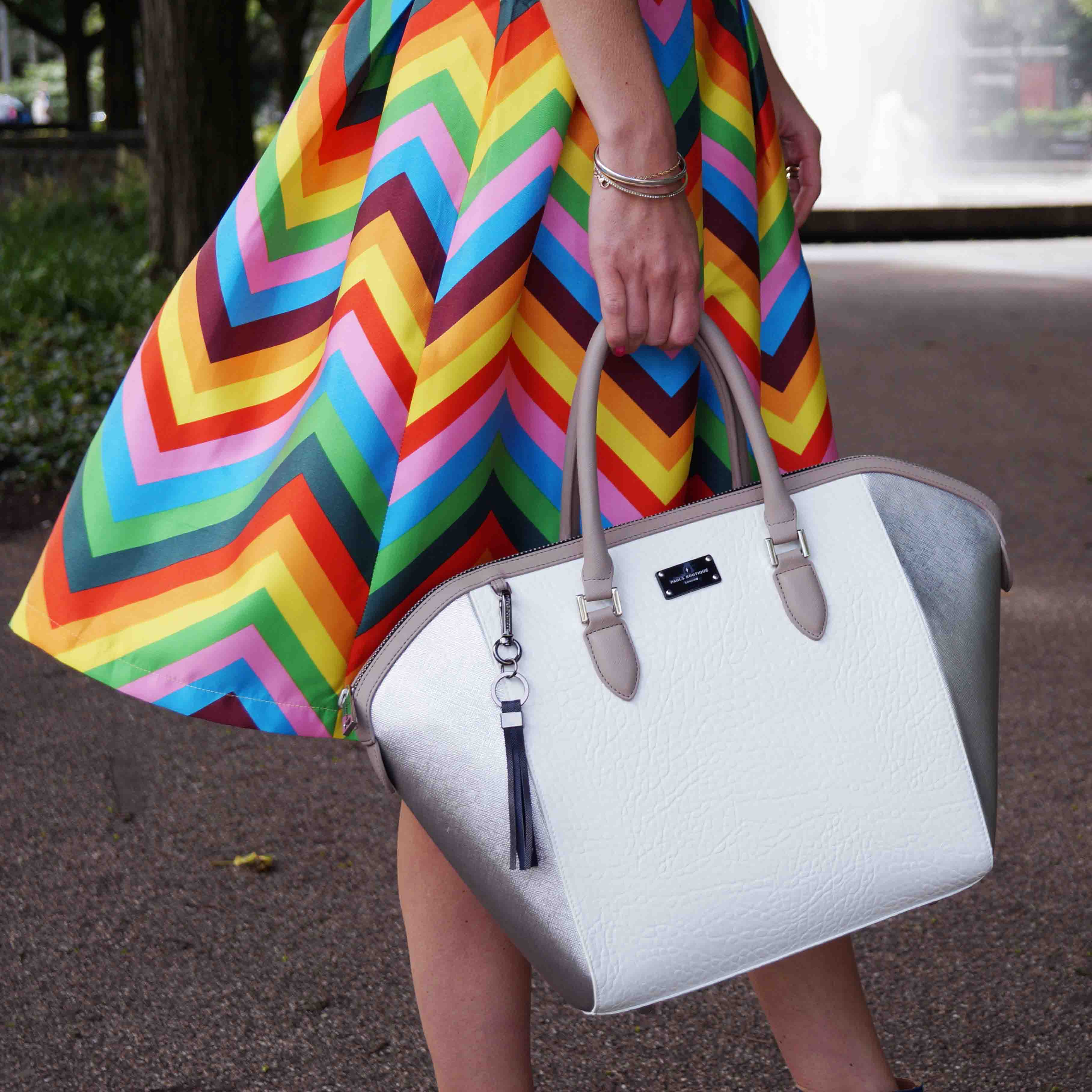 Bag at You - Fashion Blog - Paul's Boutique bags - Tassen - Colorful skirt and white bag