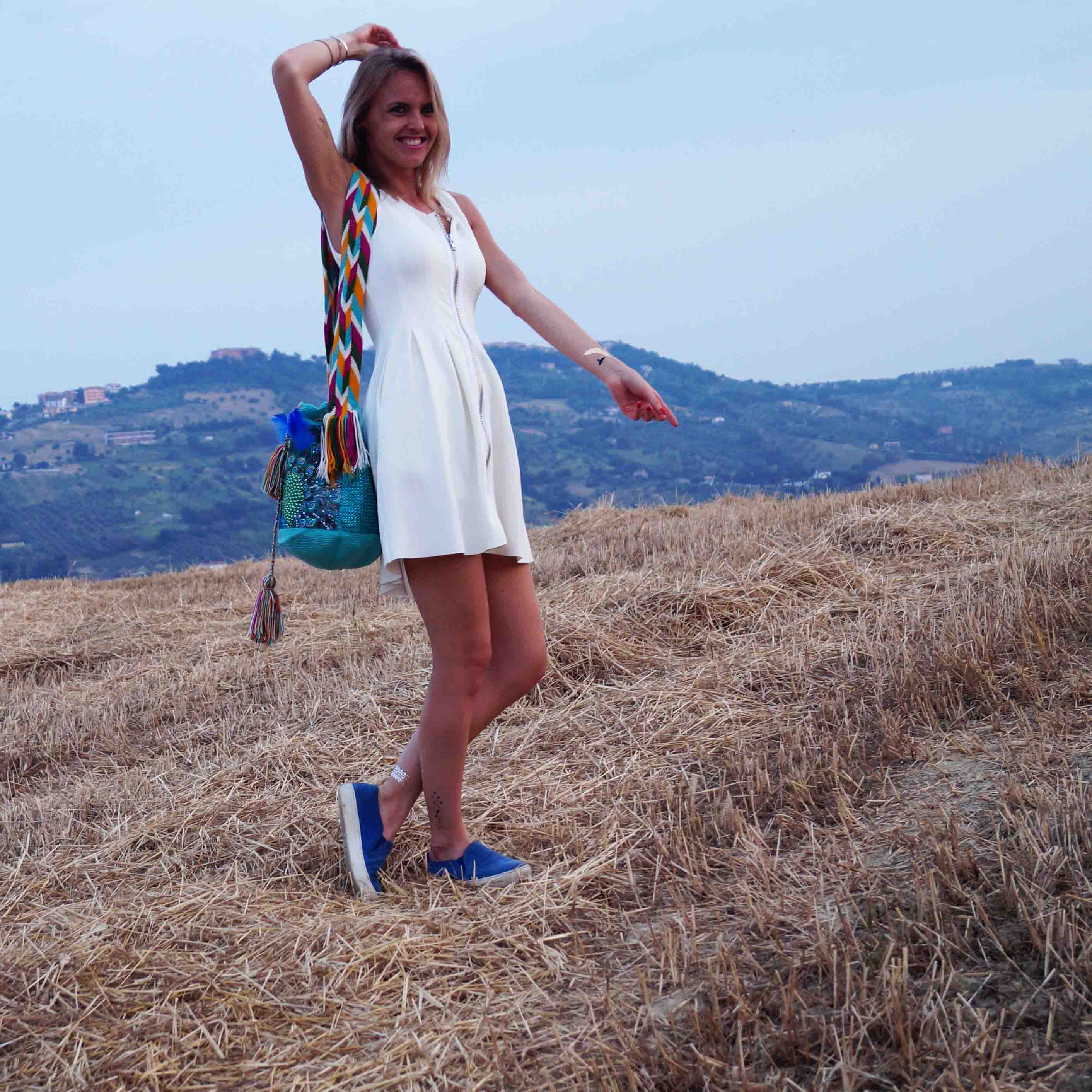 Bag at You - Fashion Blog - THINK X WAYUU BAGS - Pavo Real - Think Imaginary Tattoos - White dress