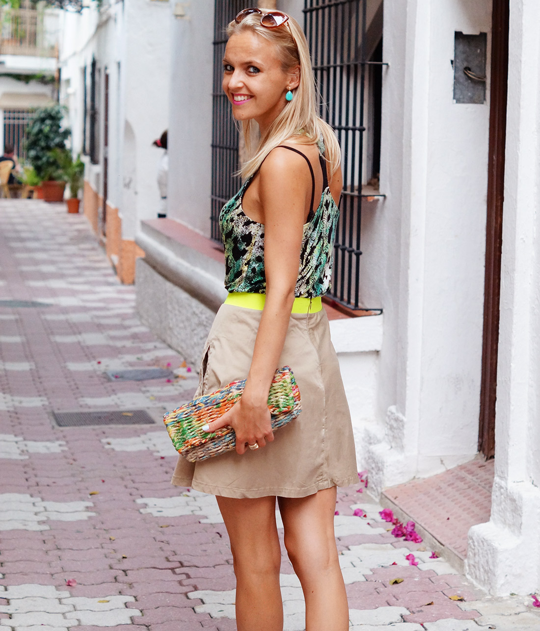Bag-at-you---Fashion-blog---Colourful-clutch-beige-skirt-in-Marbella-Spain