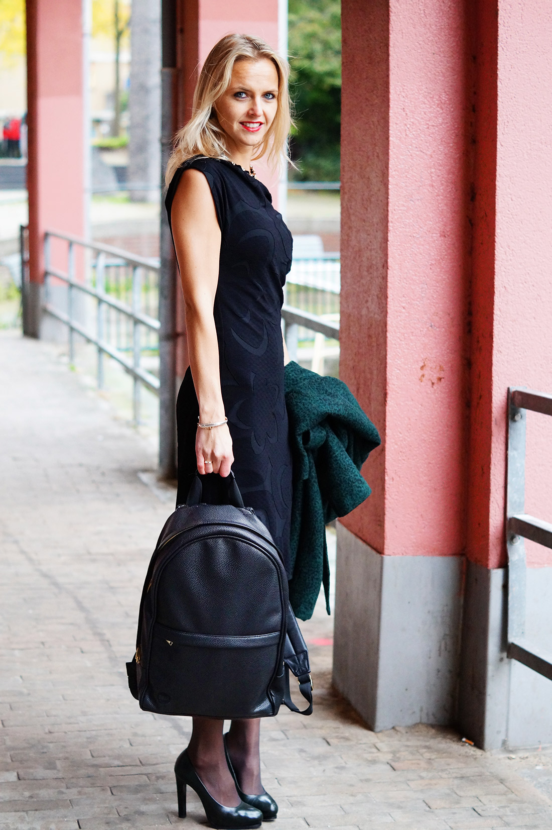 Bag At You Fashion Blog Mi Pac Backpack Maxwell Black Black Dress Autumn In Amsterdam Bag At You