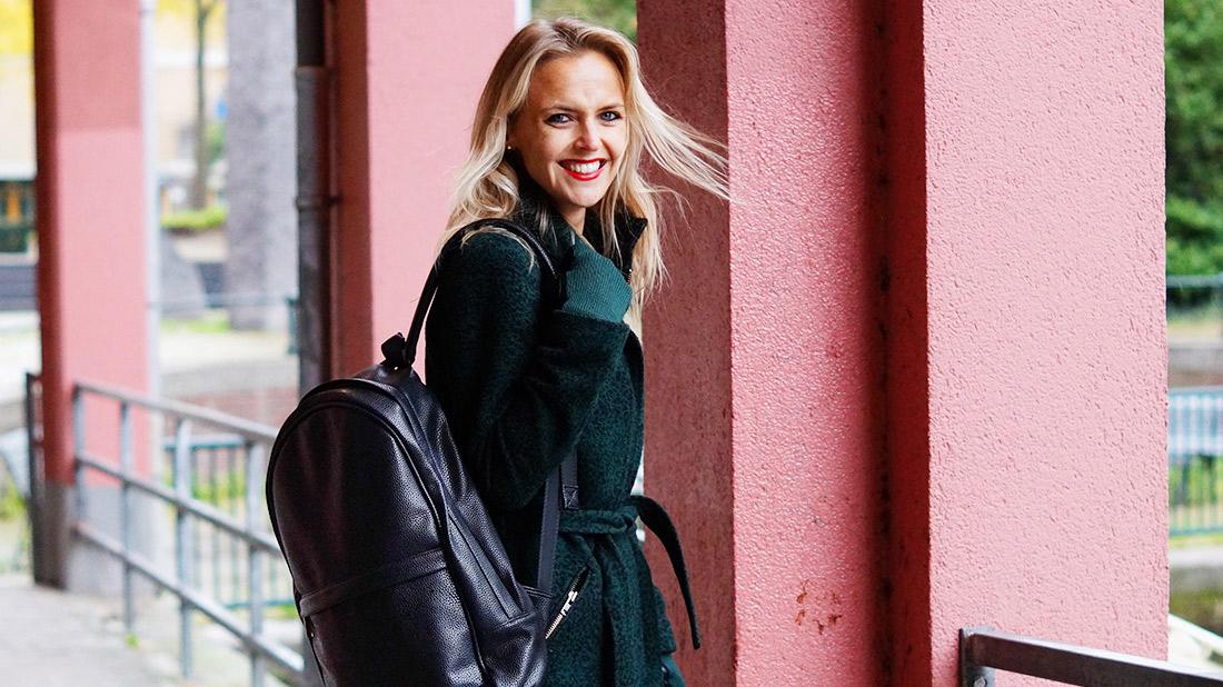 Bag-at-You---Fashion-blog---Mi-Pac-Backpack-Maxwell-Black---Green-Coat---Amsterdam