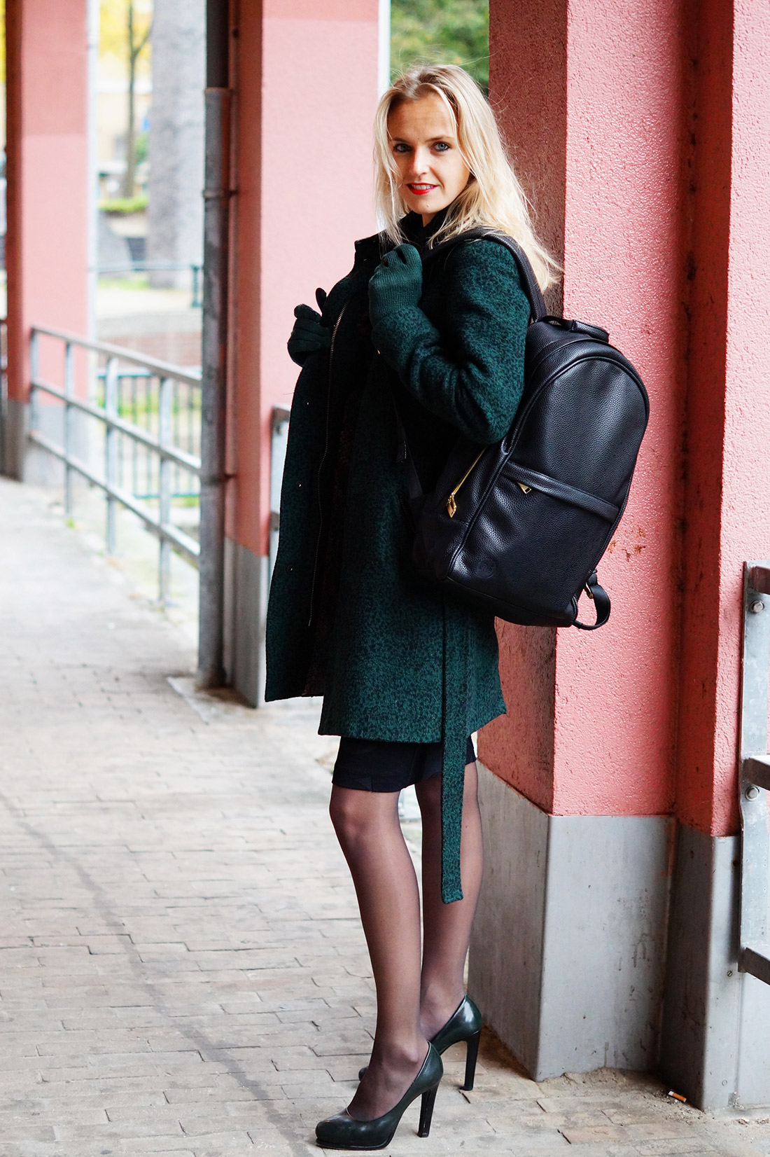 Bag-at-You---Fashion-blog---Mi-Pac-Backpack-Maxwell-Black---Green-Coat---Elegant-Street-Style-in-Amsterdam